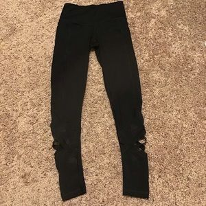 Victoria Secret Sport Black Mesh Cross Leggings